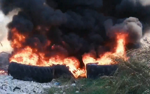 Запалени гуми во Долно Лисиче, 10 ноември 2019
