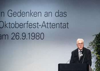26 September 2020, Bavaria, Munich: German President Frank-Walter Steinmeier attends an event at the new documentation centre on the occasion of marking the 40th anniversary of the right-wing terrorist attack on the Oktoberfest at the Theresienwiese. Photo: Sven Hoppe/dpa