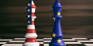 USA and EU cooperation concept. US of America and European Union flags on chess kings on a chess board, brown wooden background. 3d illustration