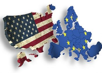 Trade Agreement USA and EU. Symbol for the Transatlantic Trade and Investment Partnership TTIP
