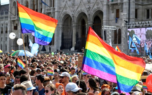 FILE PHOTO: People take part in the annual Pride festival in Budapest, Hungary July 6, 2019. REUTERS/Tamas Kaszas/File Photo