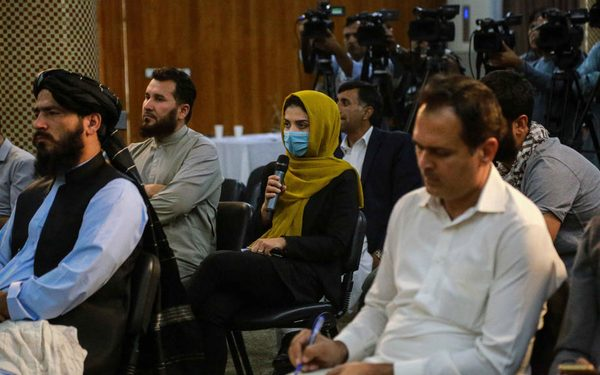 epa09463065 Journalists talk to Sheikh Abdul Baqi Haqqani, Taliban's Acting Minister of Higher Education, during a ceremony in Kabul, Afghanistan, 12 September 2021. Citing the threat of a humanitarian catastrophe, the  United Nations made an appeal to the international community to unblock aid to Afghanistan that was frozen when the Taliban returned to power nearly 20 years after being ousted by the United States. Afghans who plan to flee the country or are in need of cash to buy groceries and food resort to sell their household items as country's economy is in shambles due to uncertainty.  EPA-EFE/STRINGER